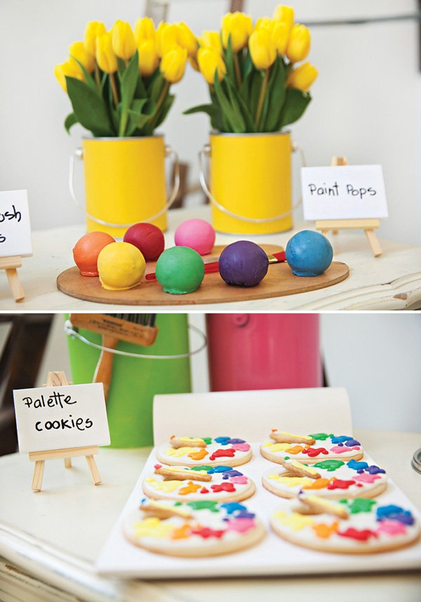 rainbow paint palette cookies and cake balls