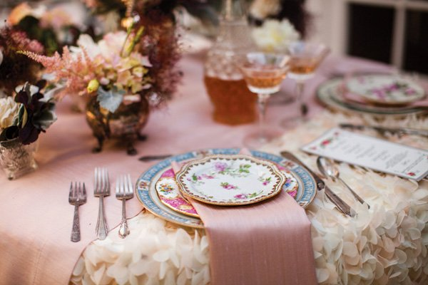 romantic floral wedding tablescape
