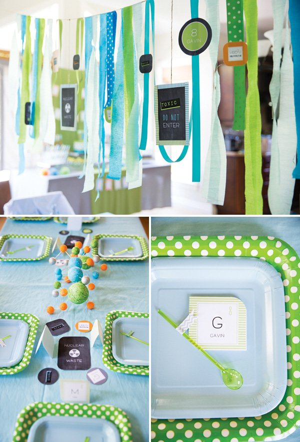 kids science party tablescape decor
