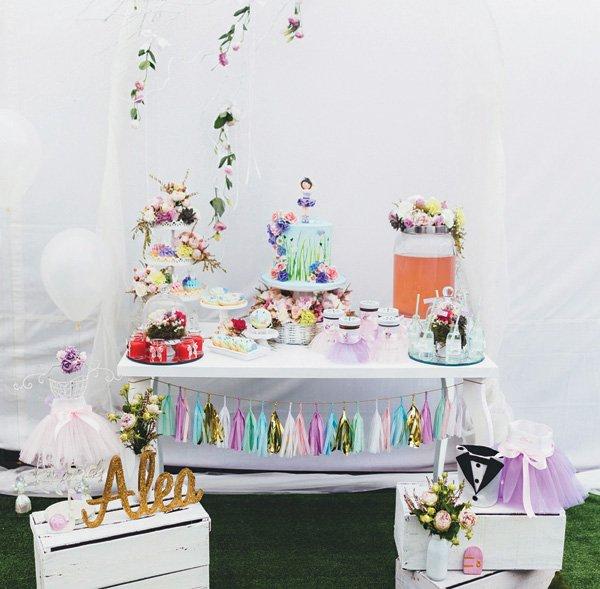 secret garden birthday party dessert table