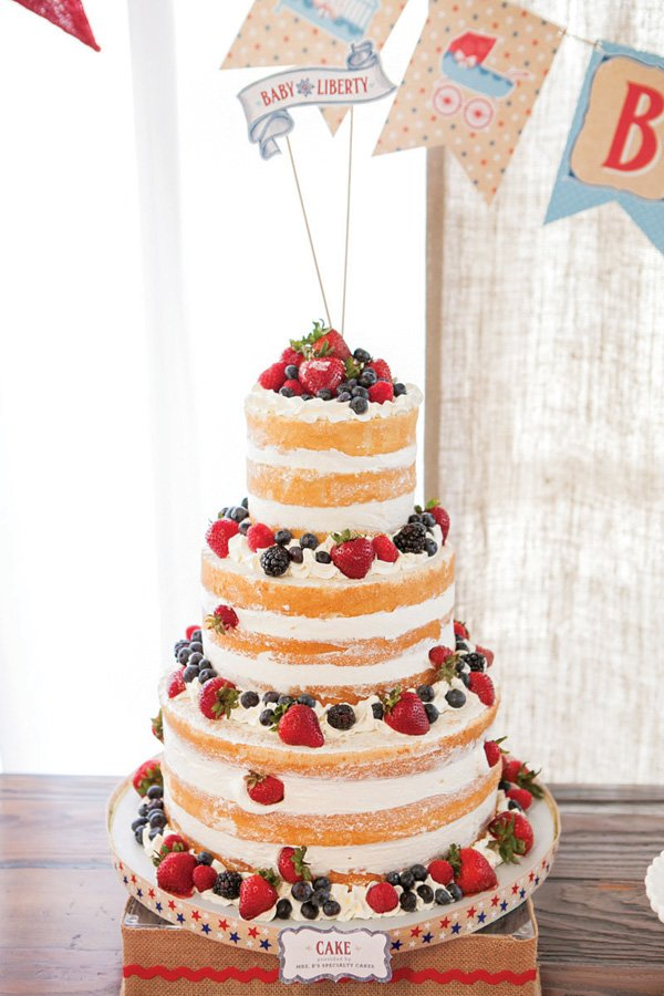 red white and blue summer berry naked cake