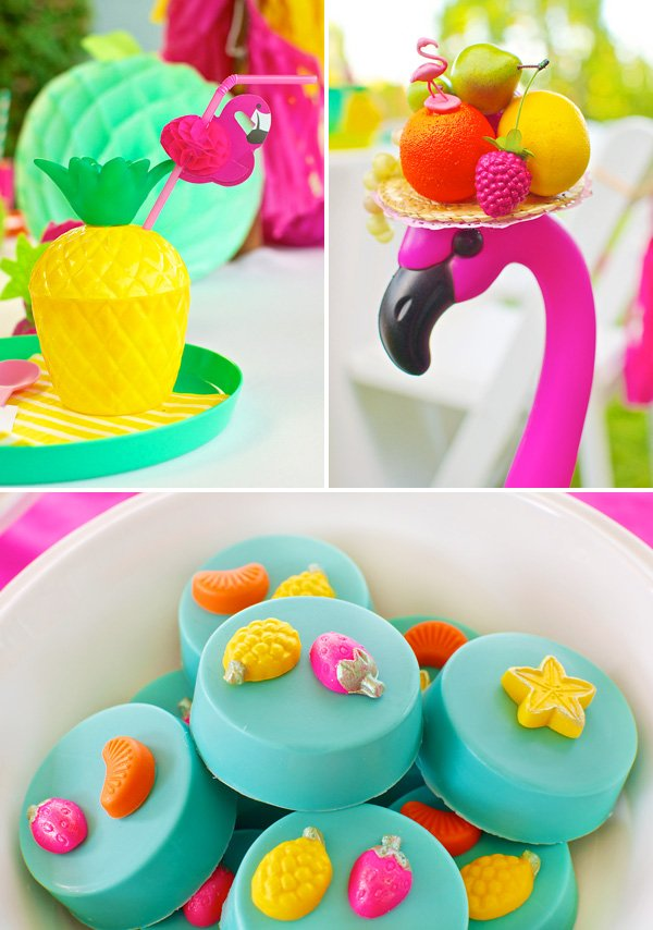 summer fruit and flamingos birthday party