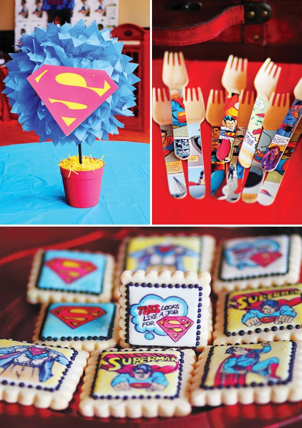 superman birthday party tablescape