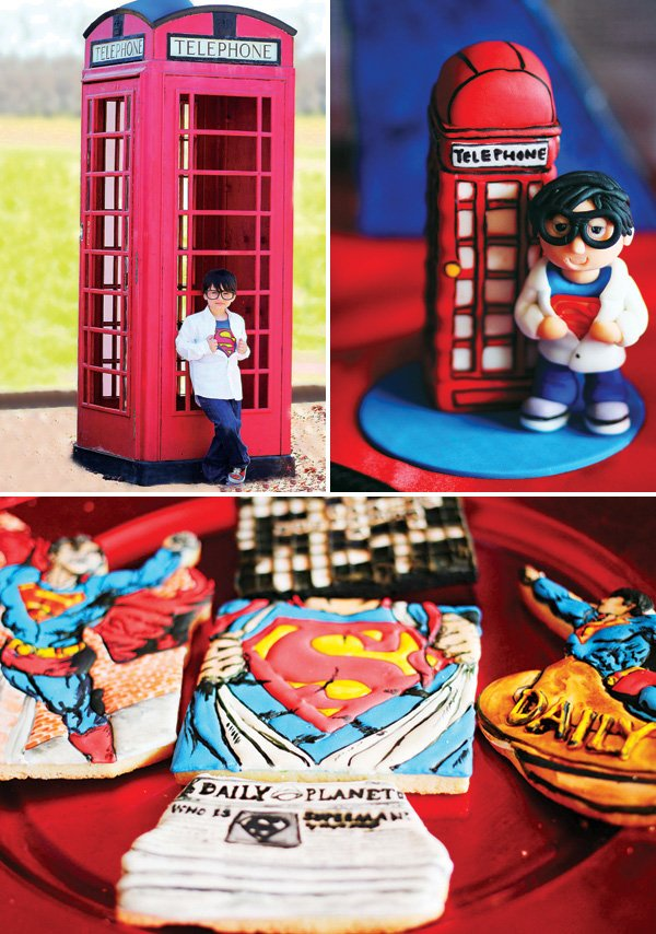superman telephone booth party decor