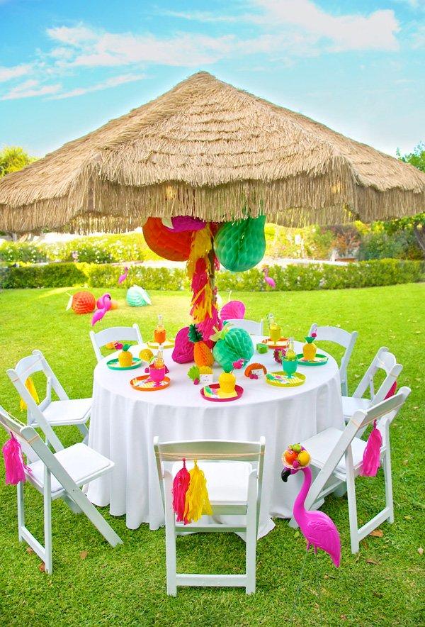 colorful tiki hut tablescape decor