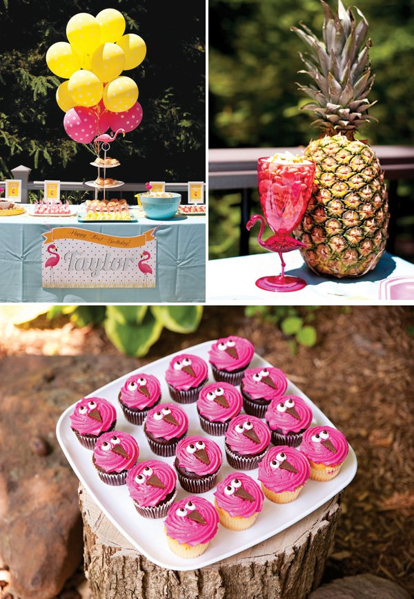 tropical flamingo pineapple party decor and pink flamingo cupcakes