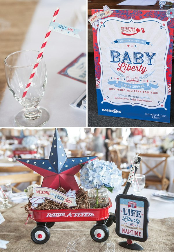 vintage americana baby shower table decorations
