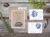 vintage organic floral wedding invitation