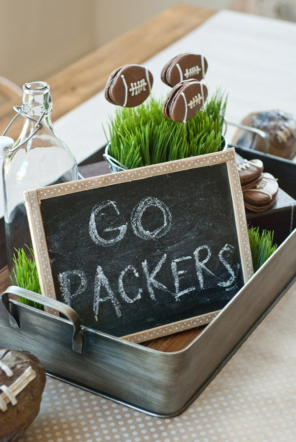 football party centerpiece tray