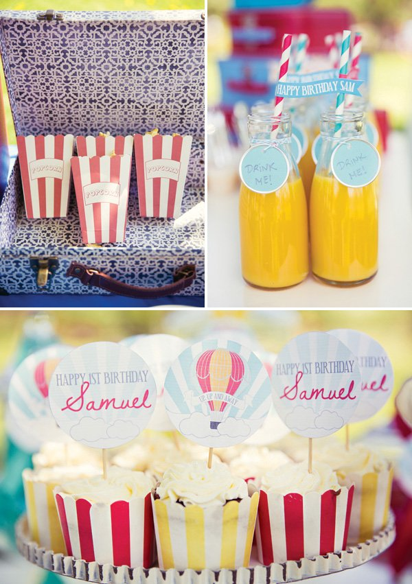 vintage hot air balloon party snacks and desserts