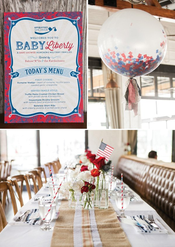 patriotic baby shower decorations - centerpiece and confetti balloon