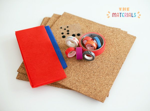 DIY Project Materials - Washi Tape, Cork Tiles, and Tissue Paper