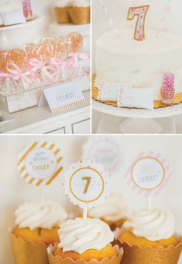 white and gold birthday party desserts