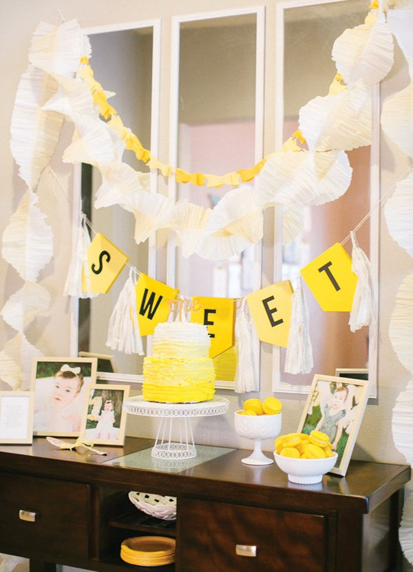 yellow first birthday dessert table
