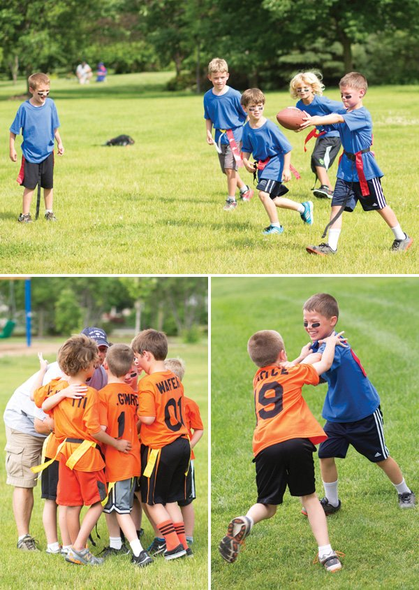 young boys playing football at a birthday party