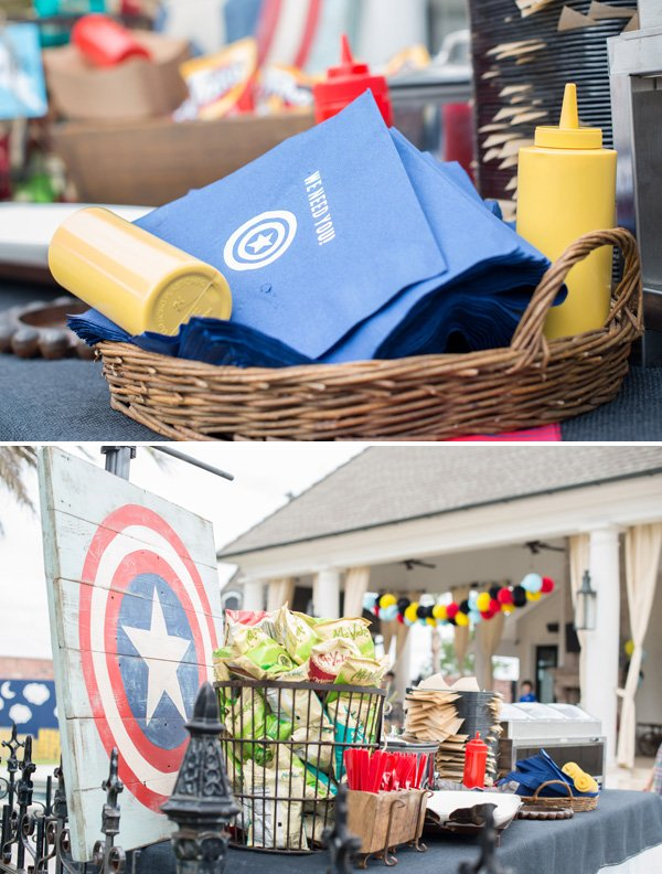captain america party sign and napkins
