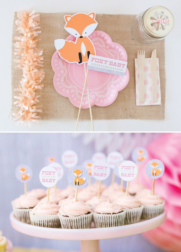 foxy baby baby shower woodland pink orange