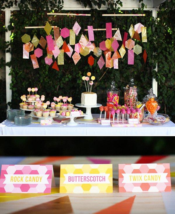 Geometric Birthday Party Dessert Table