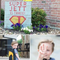 custom superman party sign - wooden palette
