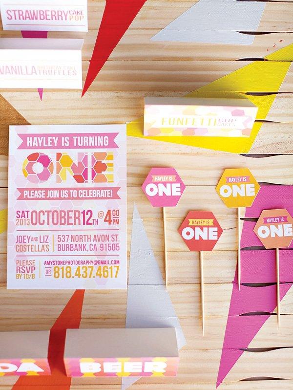geometric party invitations and decor