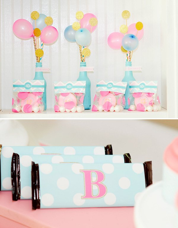 painted bottles with mini balloons