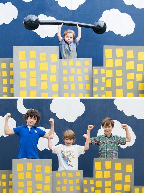 diy superhero party photo booth idea