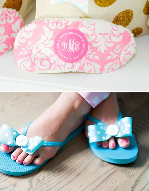 personalized spa party eye masks and flip flops