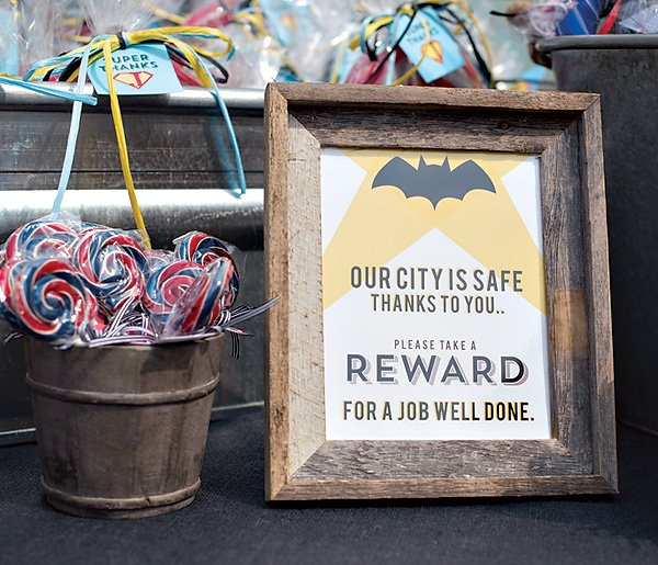 batman party favor station sign