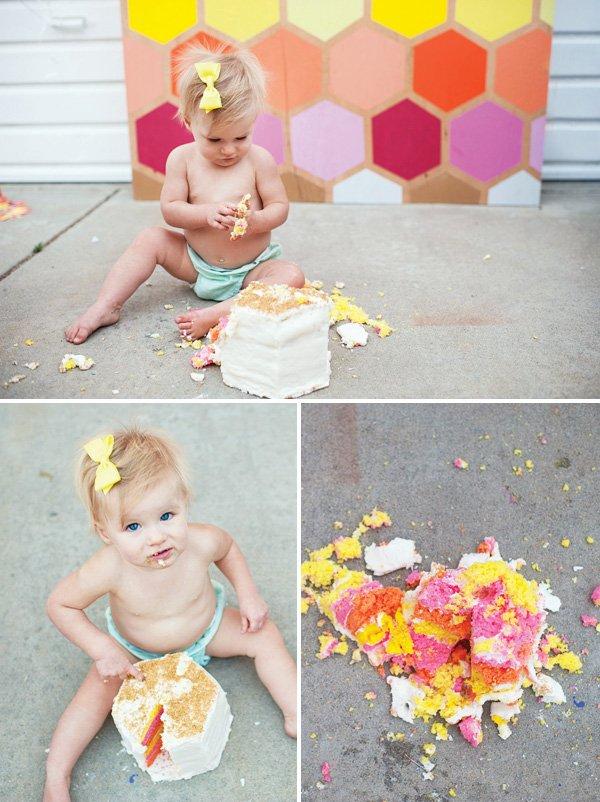 geometric first birthday smash cake