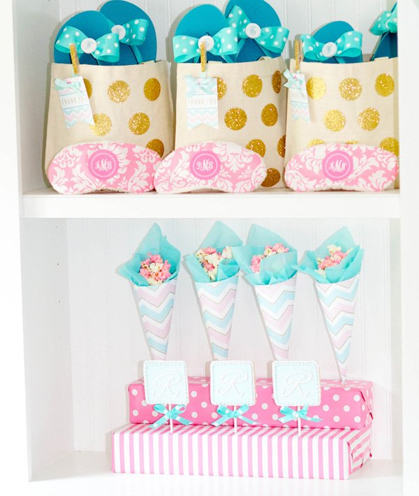 pink blue and gold party favors