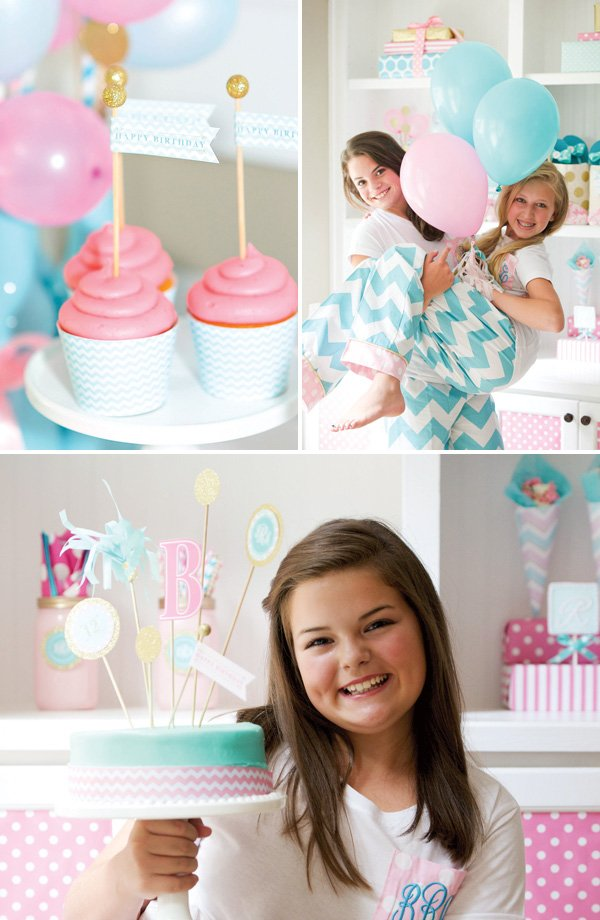 pink and blue birthday party cake