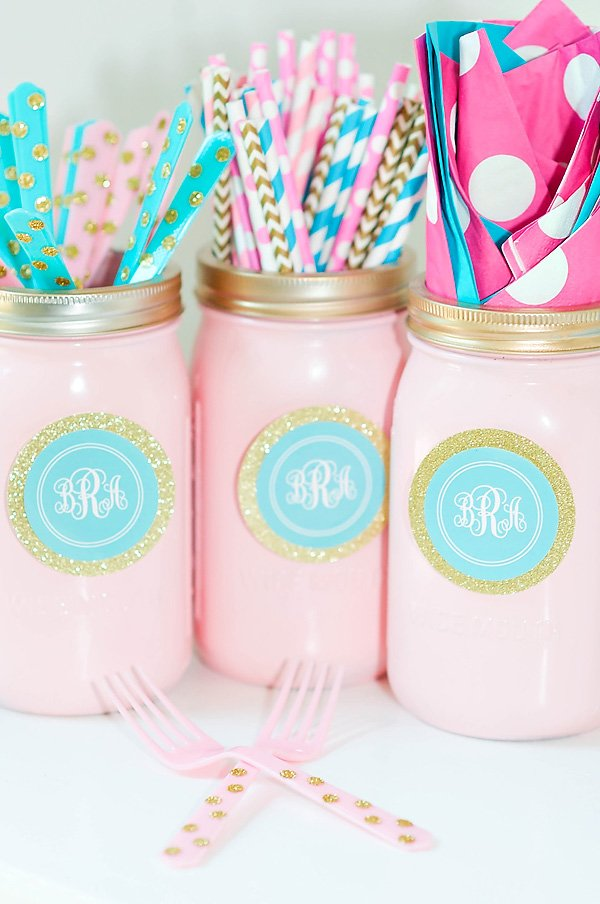 pink and blue party mason jars