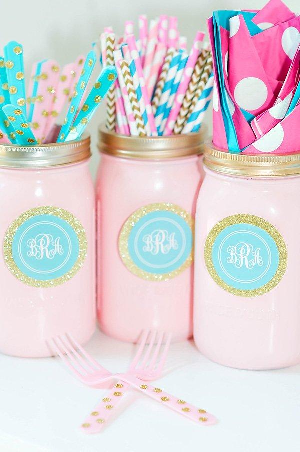 pink and blue party mason jars