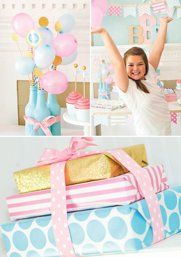 pink blue and gold slumber party