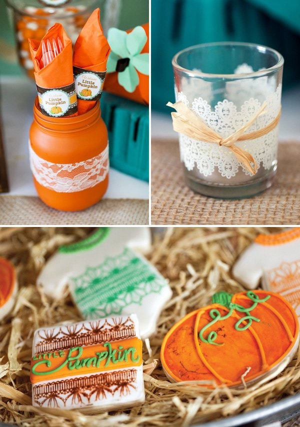 pumpkin baby shower cookies and decorations