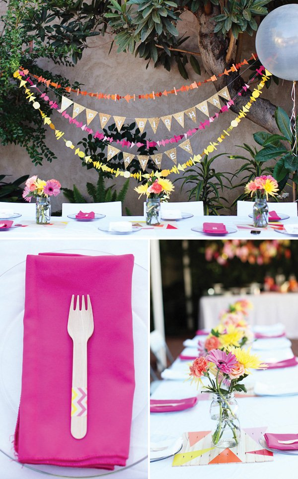 Geometric Birthday Garlands and Centerpieces