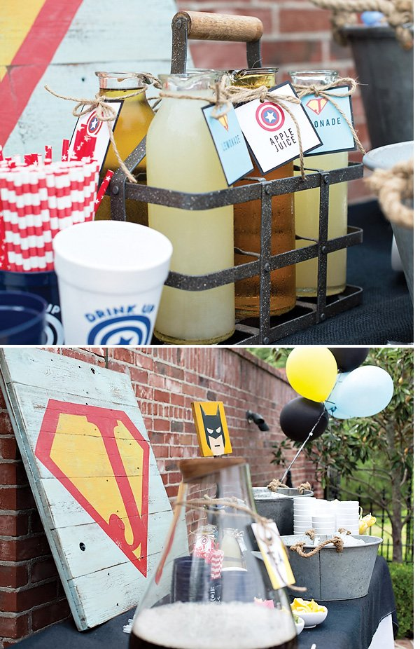rustic modern superhero party drink station