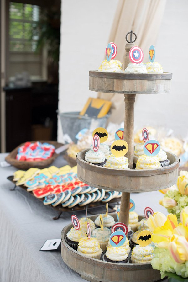 retro modern superhero cupcake toppers