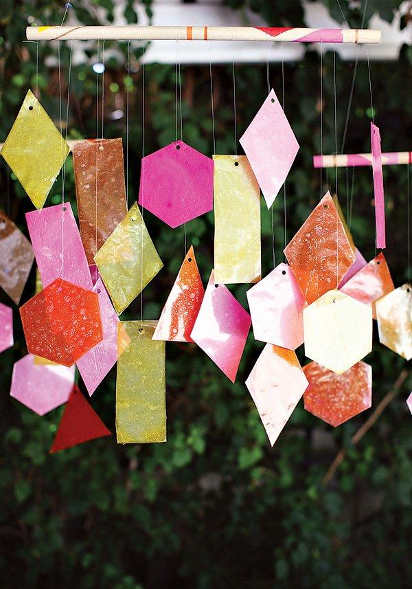 diy colorful goemetric chandelier