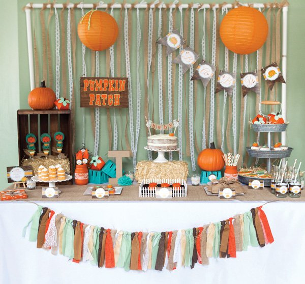 fall pumpkin baby shower dessert table