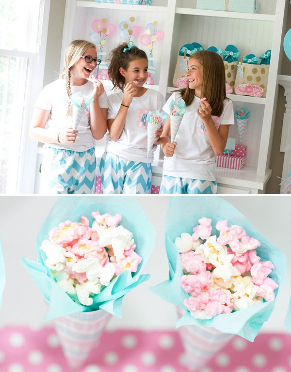 pink and white party popcorn