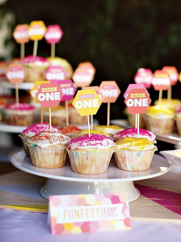 geometric birthday cupcakes