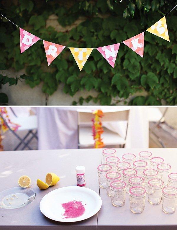 geometric party drinks - mason jars with sugar rims