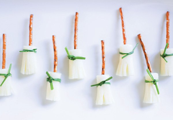 cheese and pretzel witches brooms for halloween