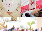 DIY cow print farm party decorations