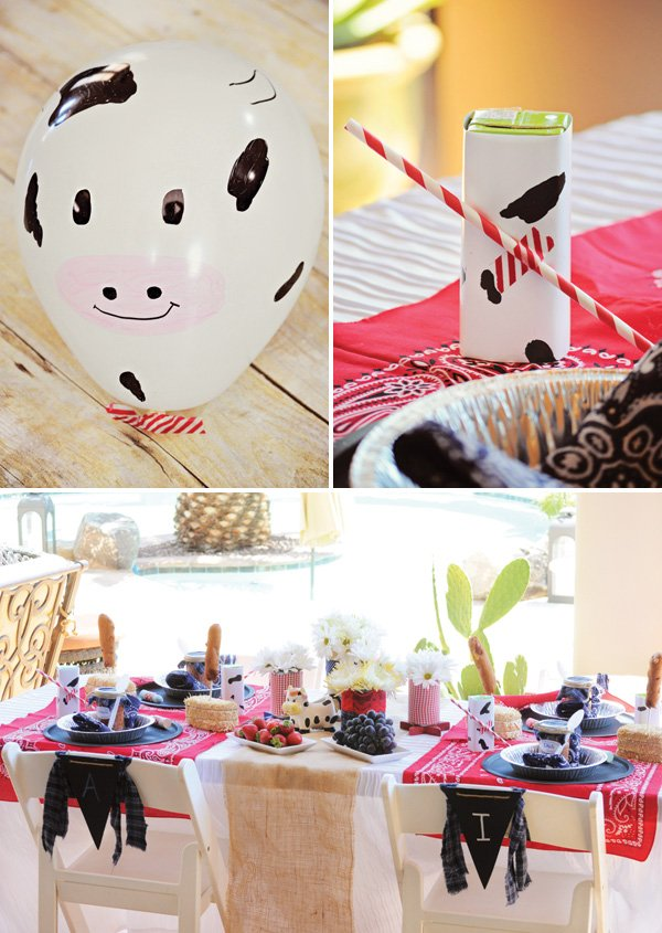 DIY cow print farm party decorations & Country Farm Birthday Party Party on a Dime #3 // Hostess with the ...
