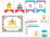 royal rainbow birthday party printables