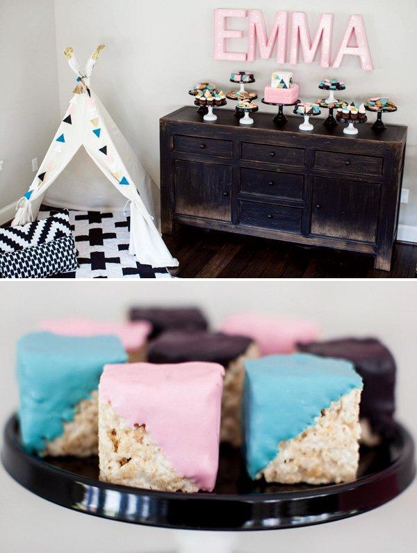baby block rice krispie treats dipped in chocolate