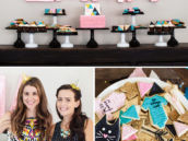 pink and teal baby shower dessert table