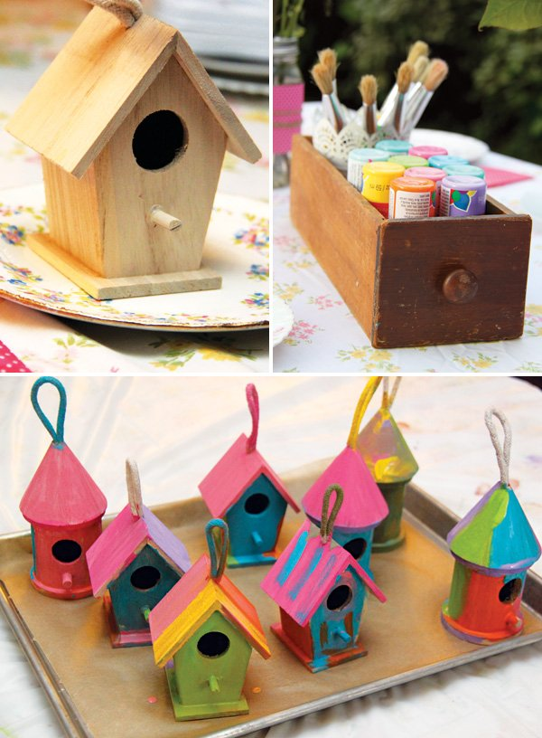birdhouse painting activity for a garden birthday party